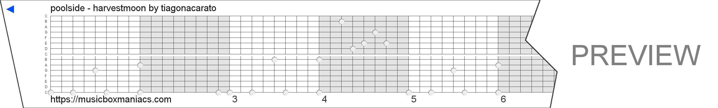 poolside - harvestmoon 15 note music box paper strip
