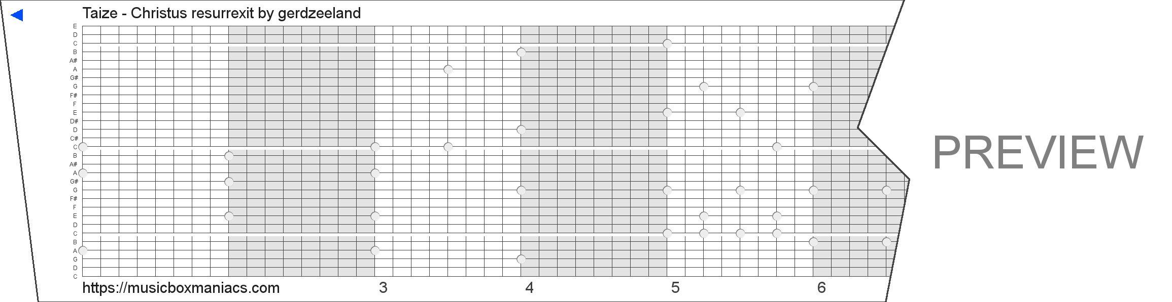 Taize - Christus resurrexit 30 note music box paper strip