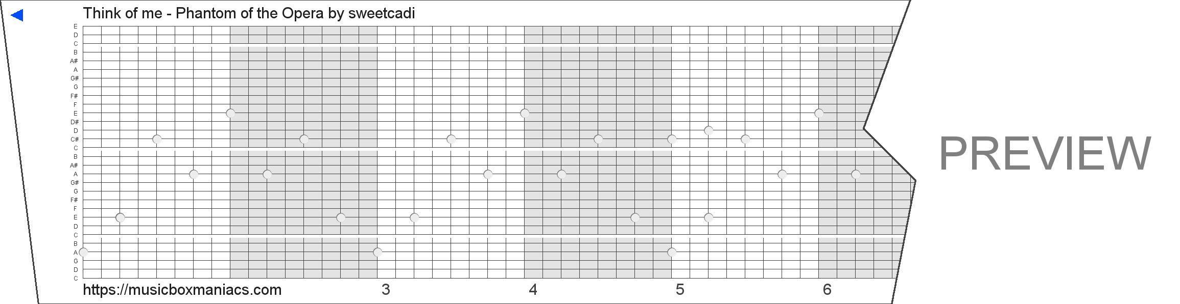 Think of me - Phantom of the Opera 30 note music box paper strip