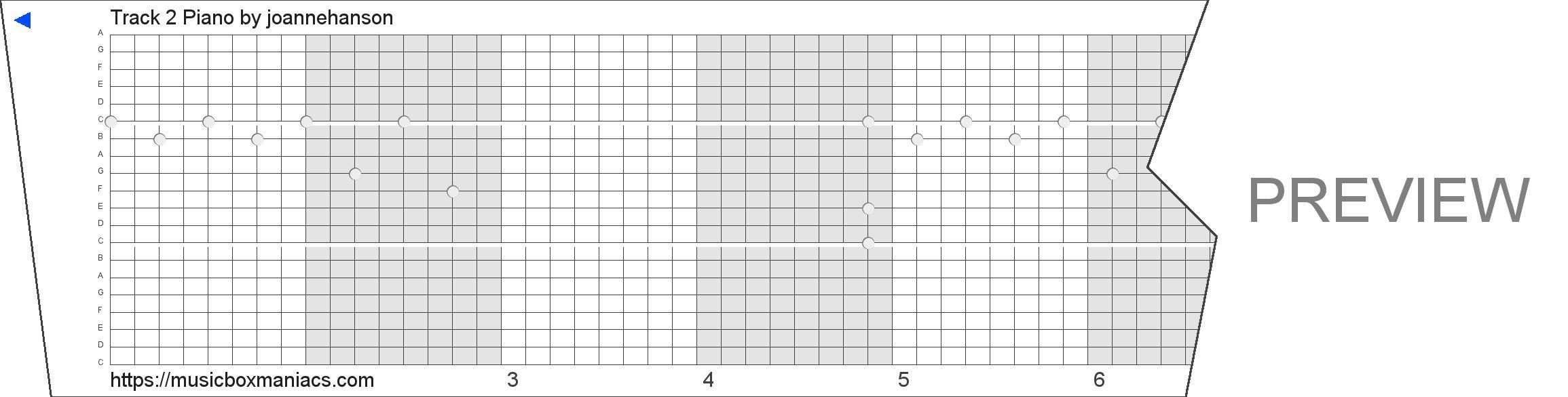 Track 2 Piano 20 note music box paper strip