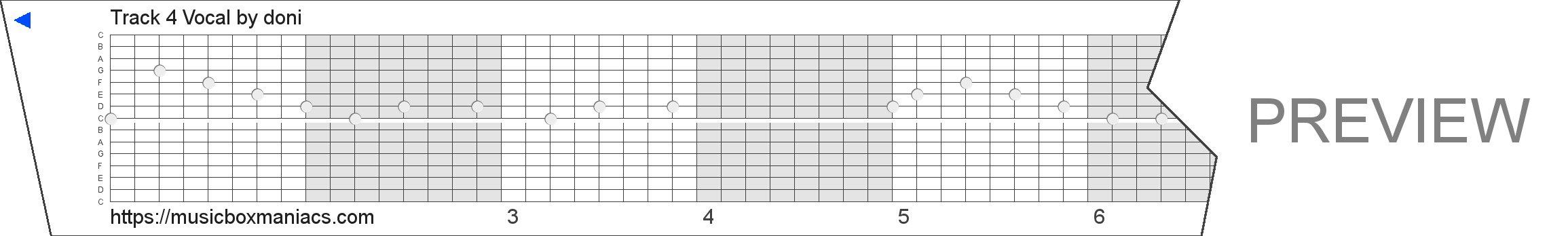 Track 4 Vocal 15 note music box paper strip