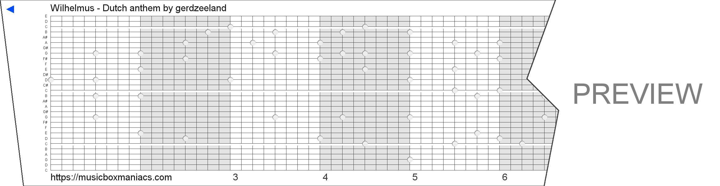 Wilhelmus - Dutch anthem 30 note music box paper strip
