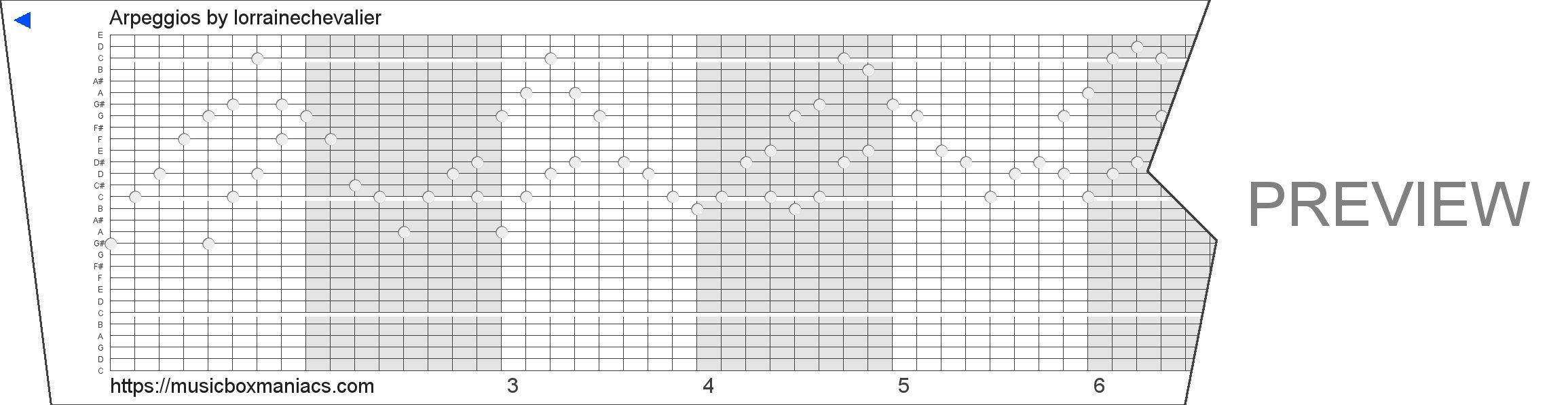 Arpeggios 30 note music box paper strip