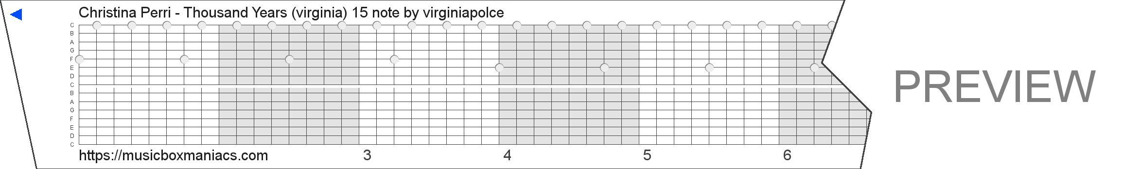 Christina Perri - Thousand Years (virginia) 15 note 15 note music box paper strip
