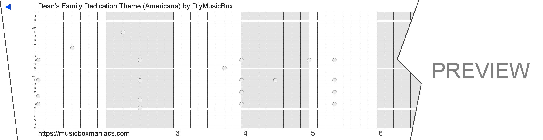 Dean's Family Dedication Theme (Americana) 30 note music box paper strip