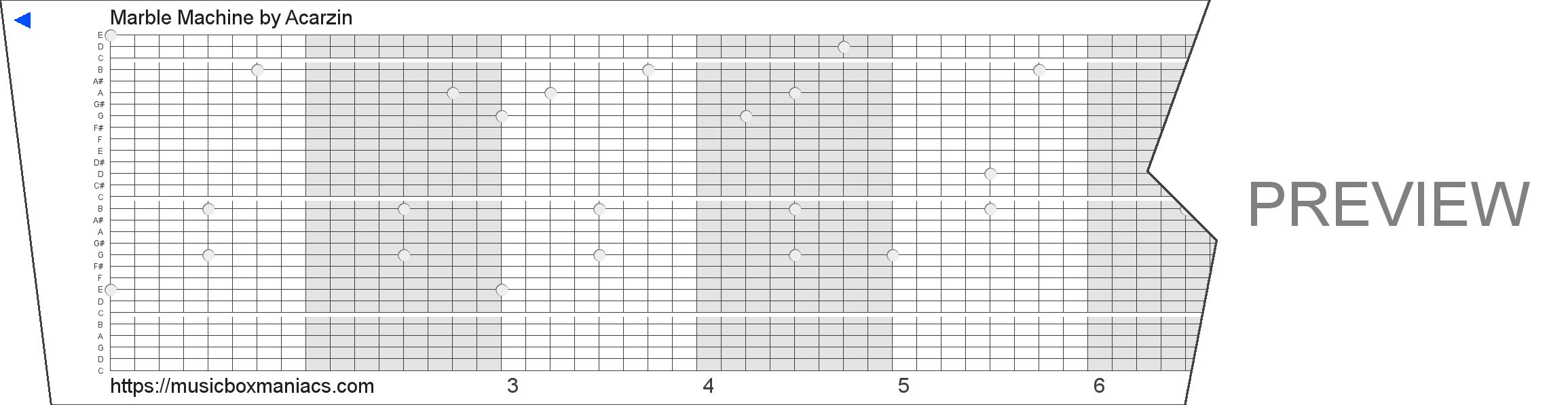 Marble Machine 30 note music box paper strip