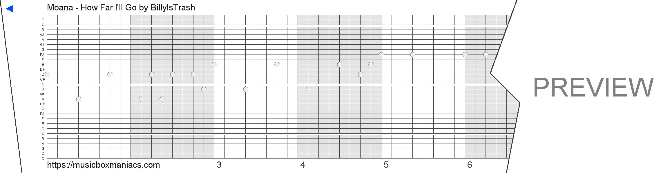 Moana - How Far I'll Go 30 note music box paper strip