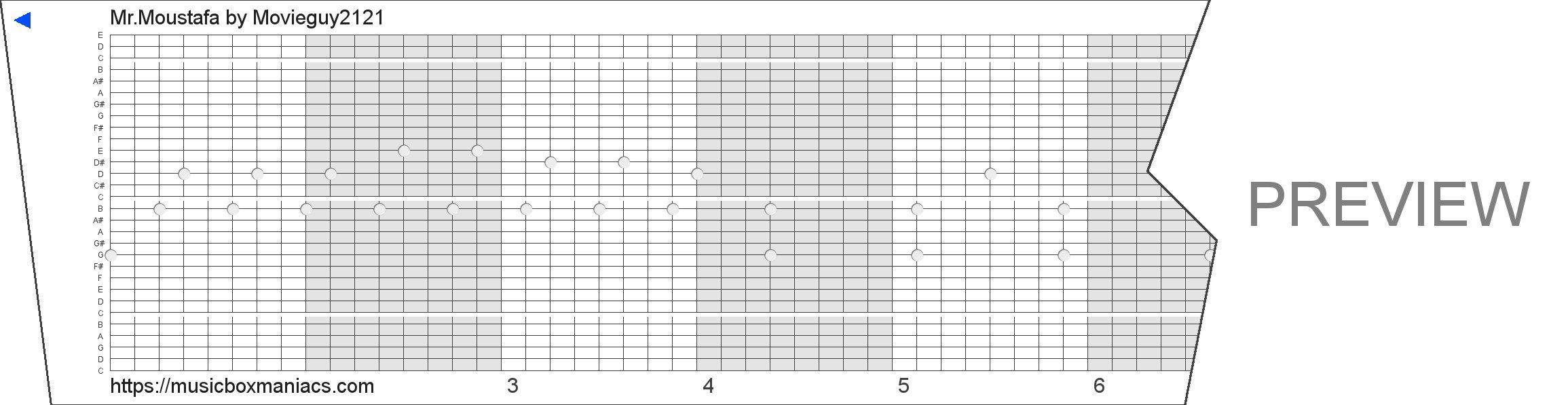 Mr.Moustafa 30 note music box paper strip