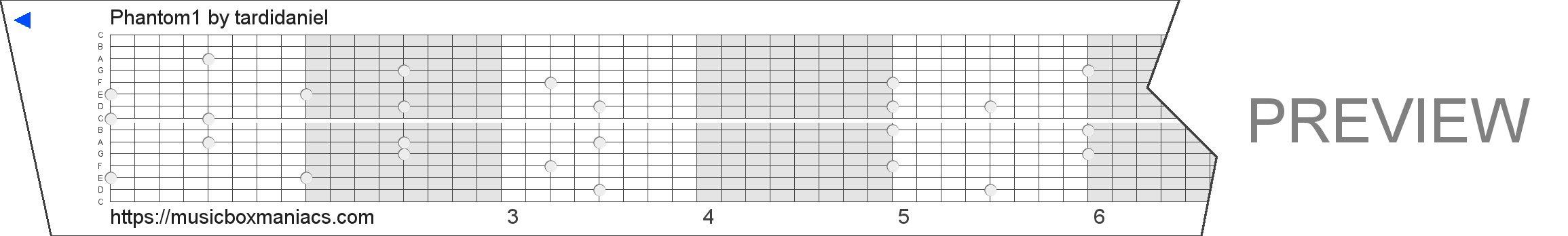 Phantom1 15 note music box paper strip