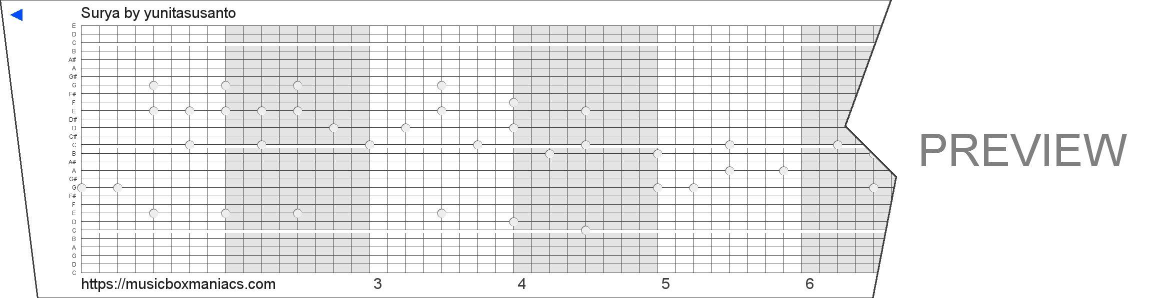Surya 30 note music box paper strip