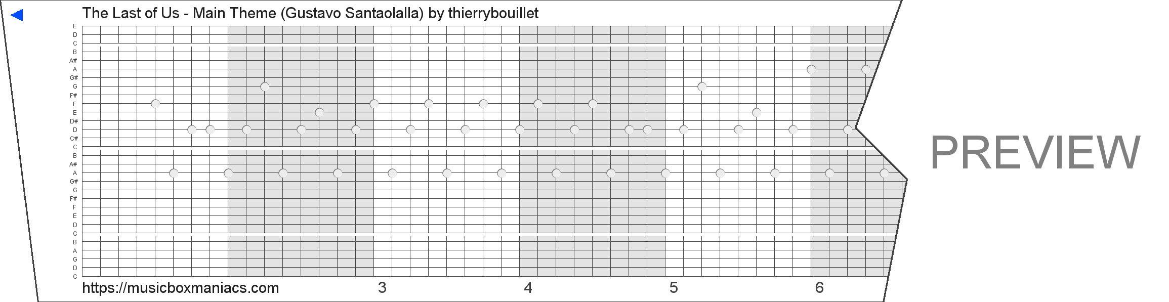 The Last of Us - Main Theme (Gustavo Santaolalla) 30 note music box paper strip