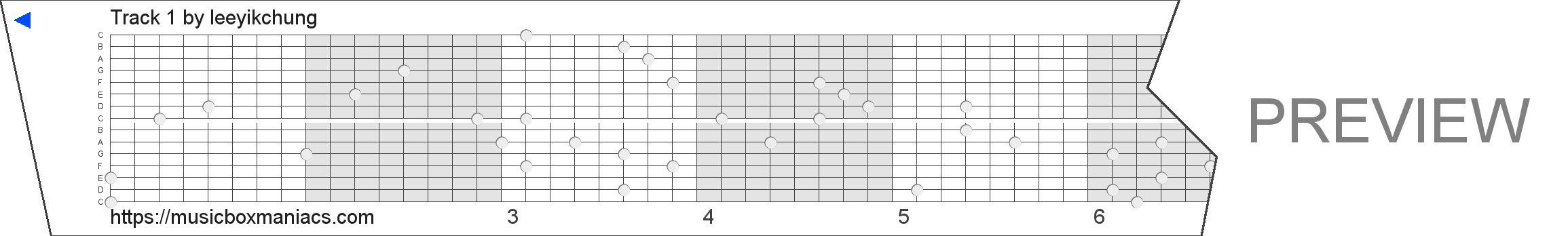 Track 1 15 note music box paper strip