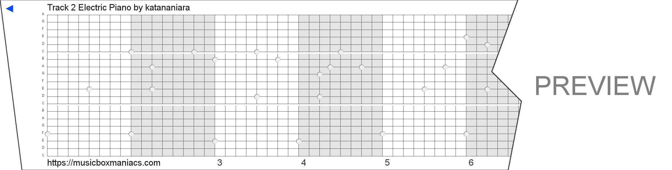 Track 2 Electric Piano 20 note music box paper strip