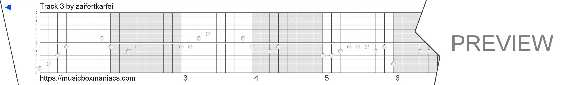 Track 3 15 note music box paper strip