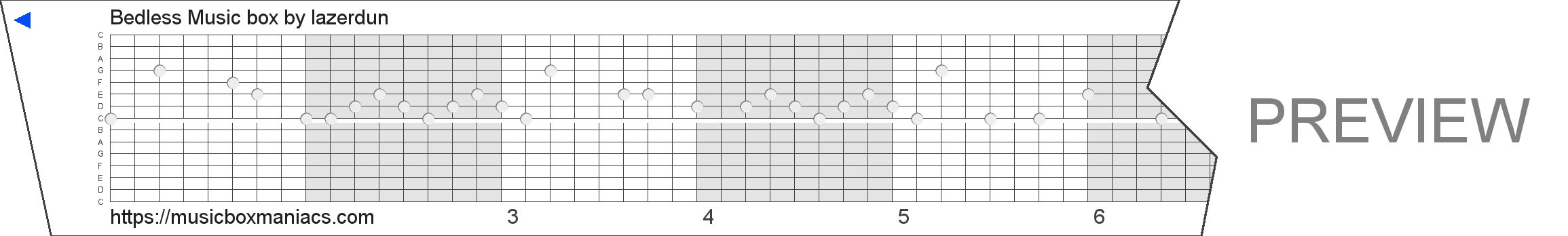 Bedless Music box 15 note music box paper strip