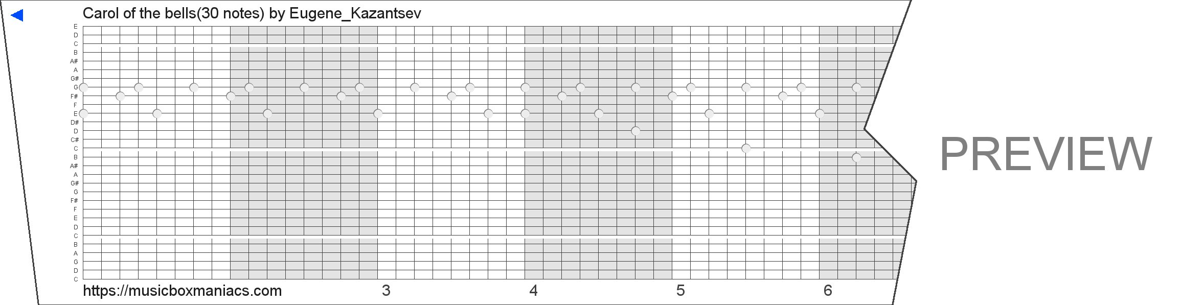 Carol of the bells(30 notes) 30 note music box paper strip