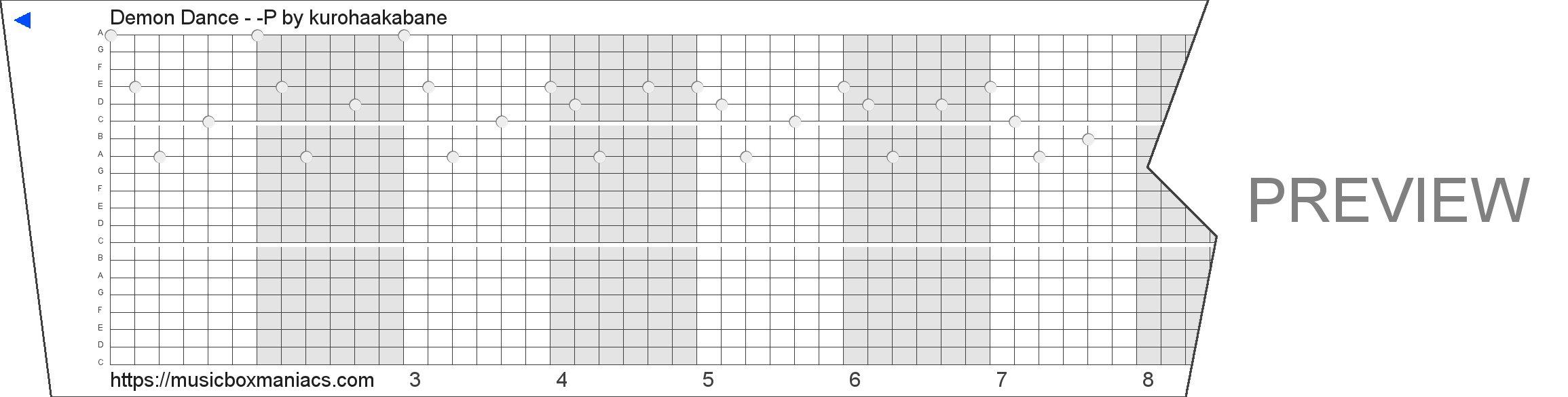 Demon Dance - 毒-P 20 note music box paper strip