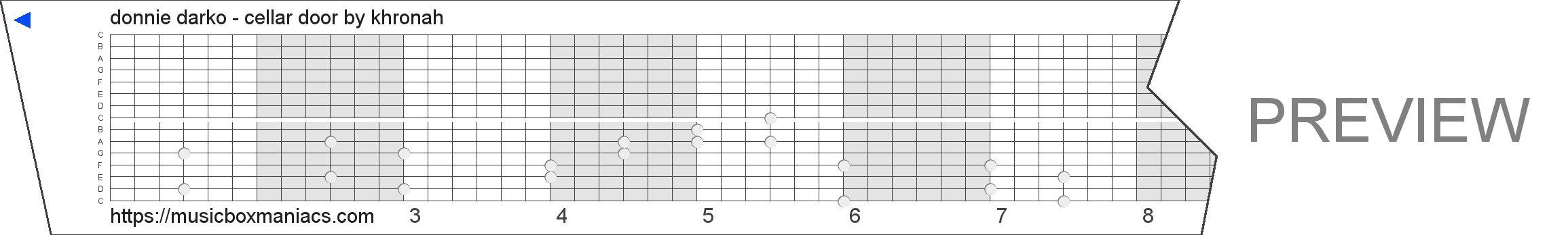 donnie darko - cellar door 15 note music box paper strip
