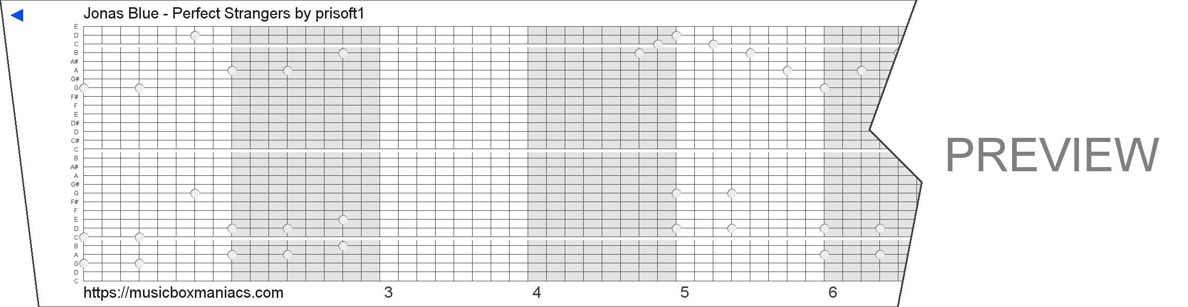 Jonas Blue - Perfect Strangers 30 note music box paper strip