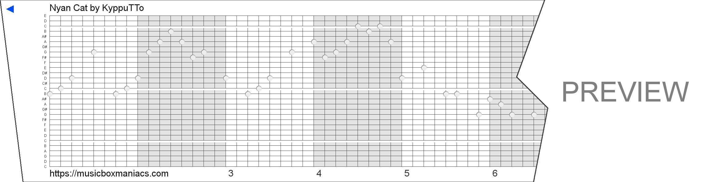 Nyan Cat 30 note music box paper strip