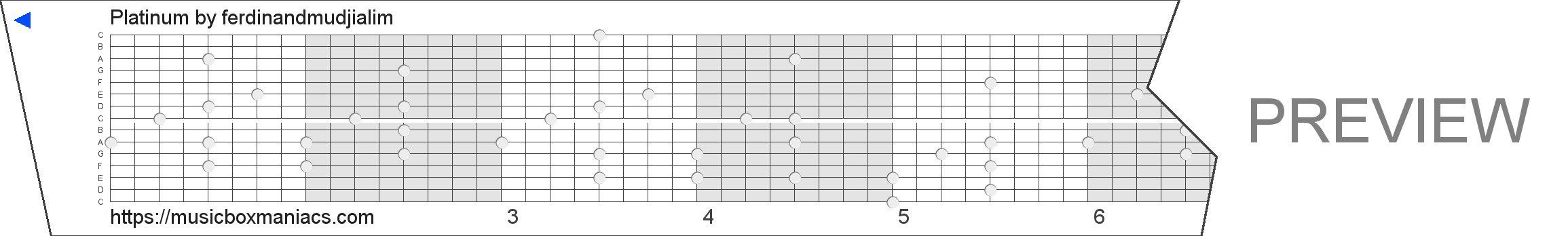 Platinum 15 note music box paper strip