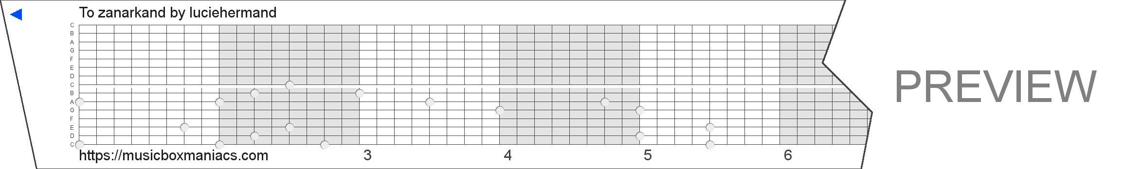 To zanarkand 15 note music box paper strip