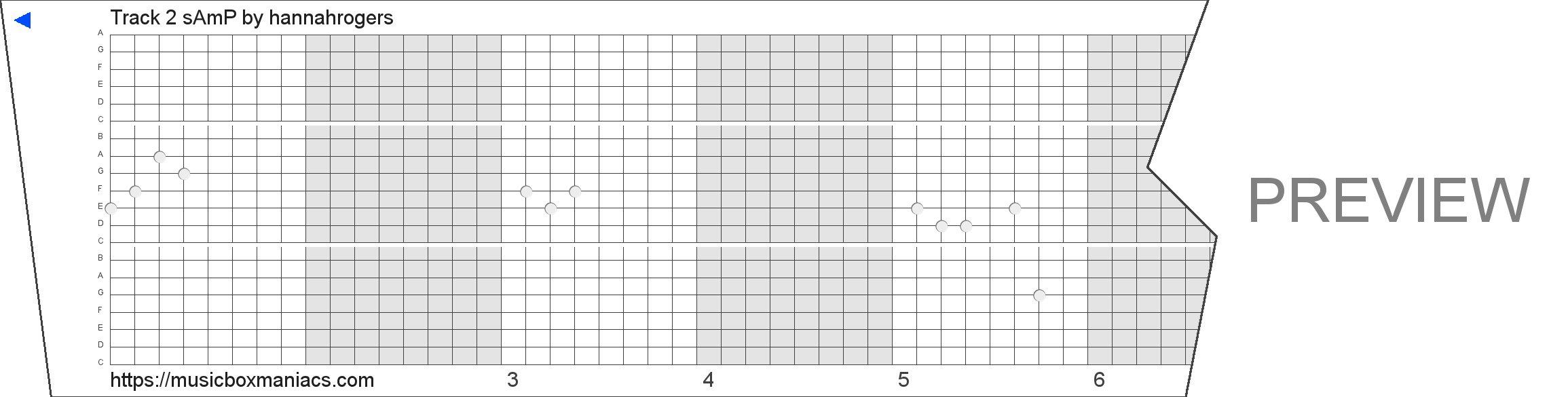 Track 2 ƒsƒAƒm'P 20 note music box paper strip