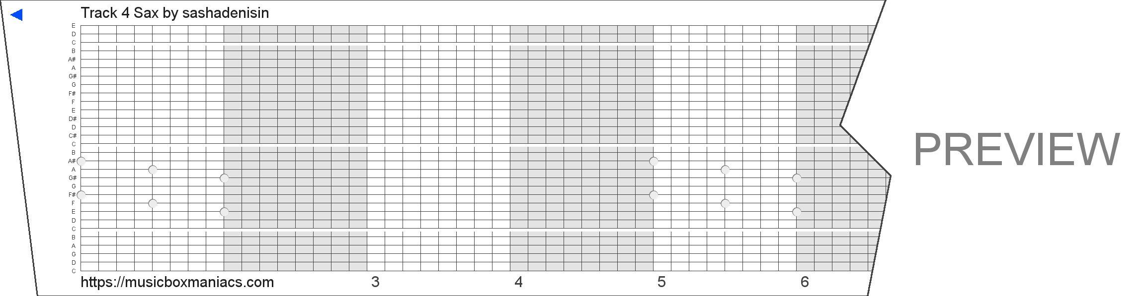 Track 4 Sax 30 note music box paper strip