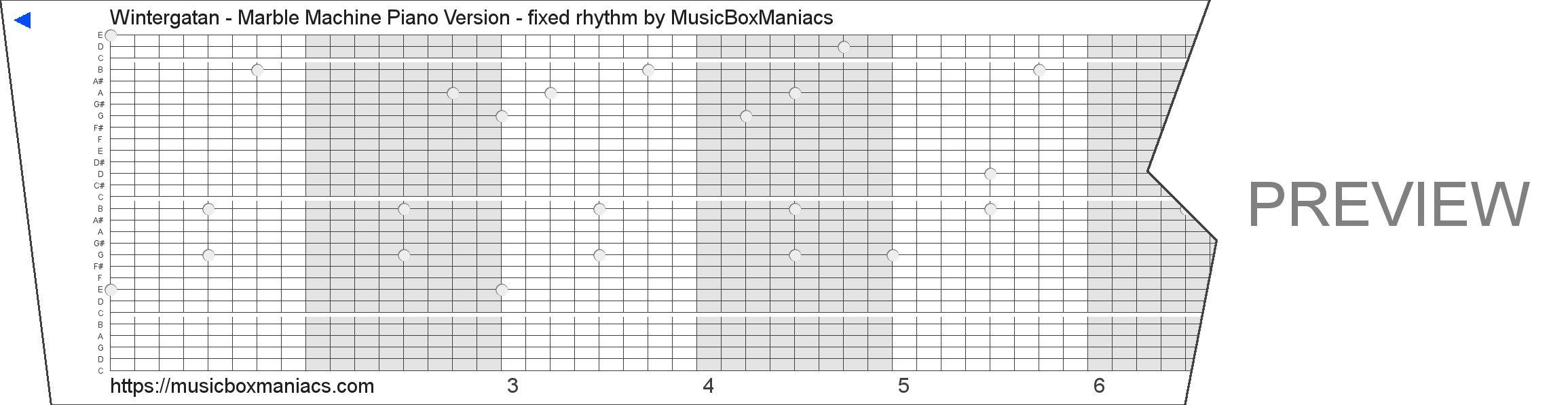 Wintergatan - Marble Machine Piano Version - fixed rhythm 30 note music box paper strip
