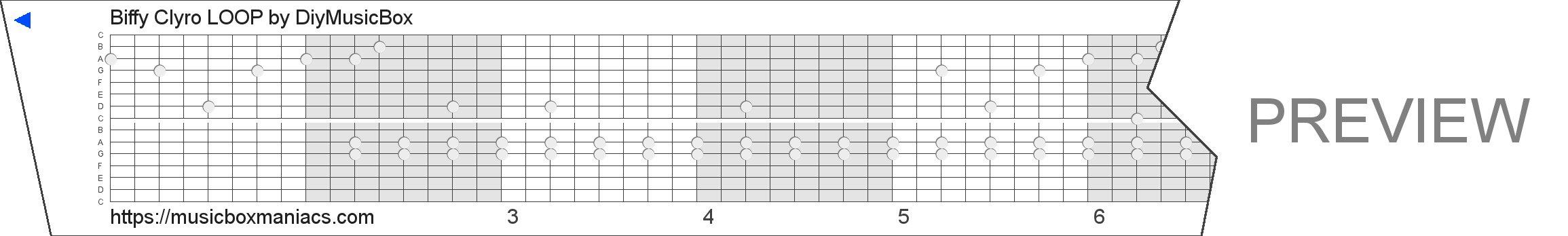Biffy Clyro LOOP 15 note music box paper strip