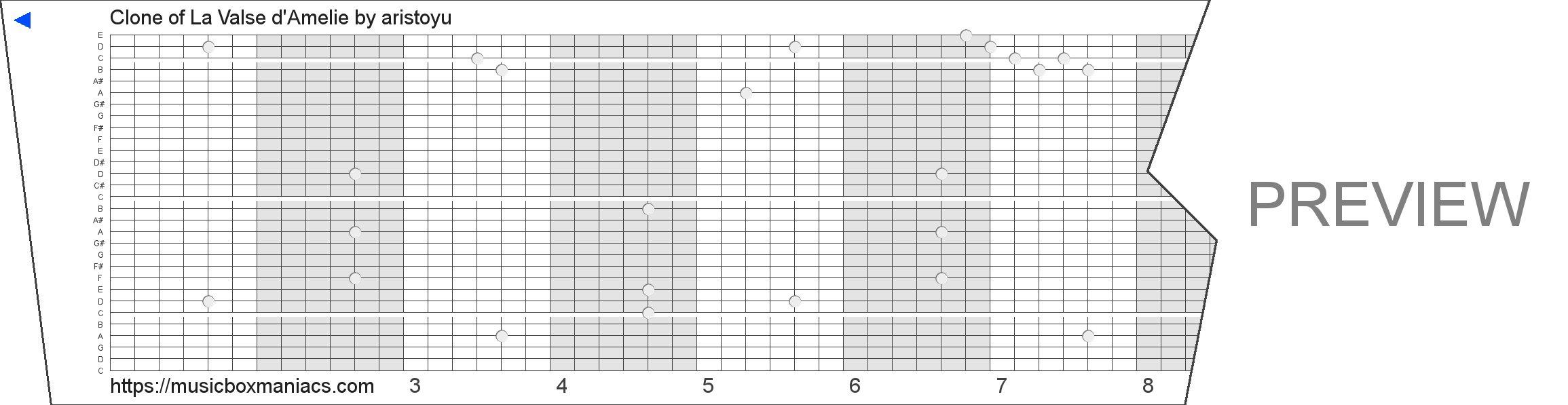 Clone of La Valse d'Amelie 30 note music box paper strip