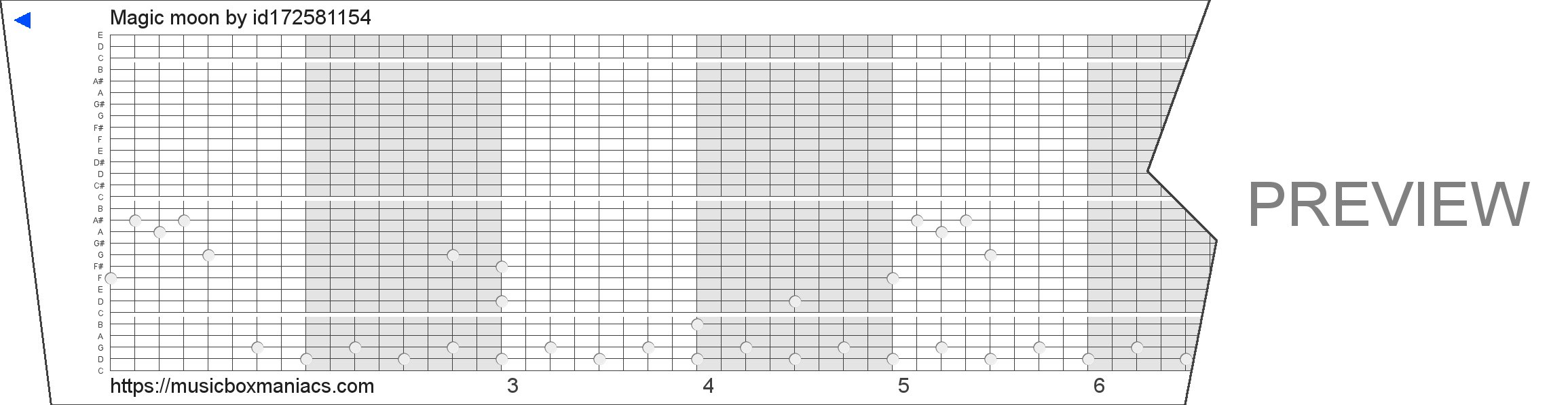 Magic moon 30 note music box paper strip