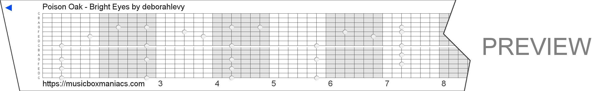Poison Oak - Bright Eyes 15 note music box paper strip