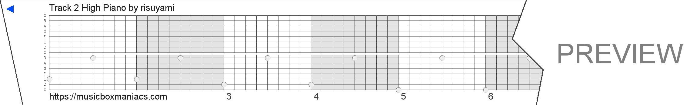 Track 2 High Piano 15 note music box paper strip