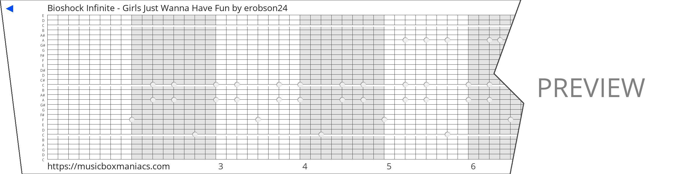 Bioshock Infinite - Girls Just Wanna Have Fun 30 note music box paper strip