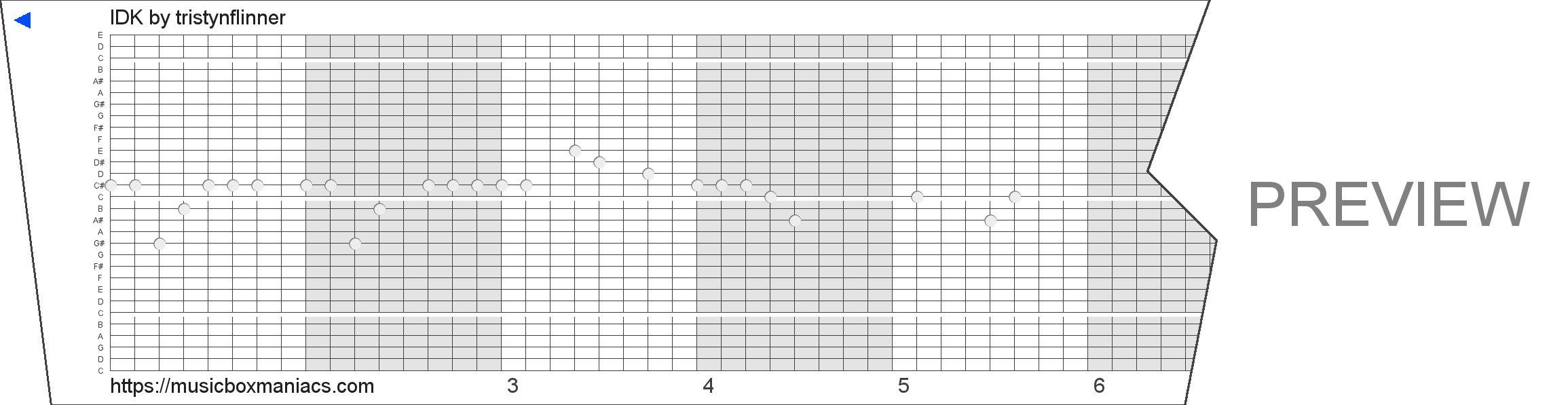 IDK 30 note music box paper strip