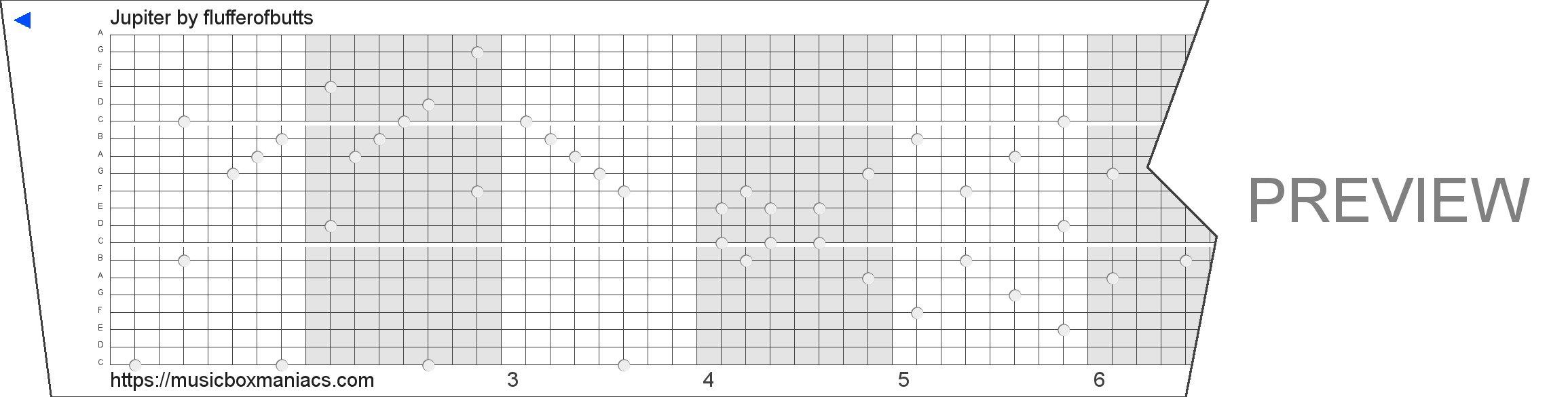 Jupiter 20 note music box paper strip