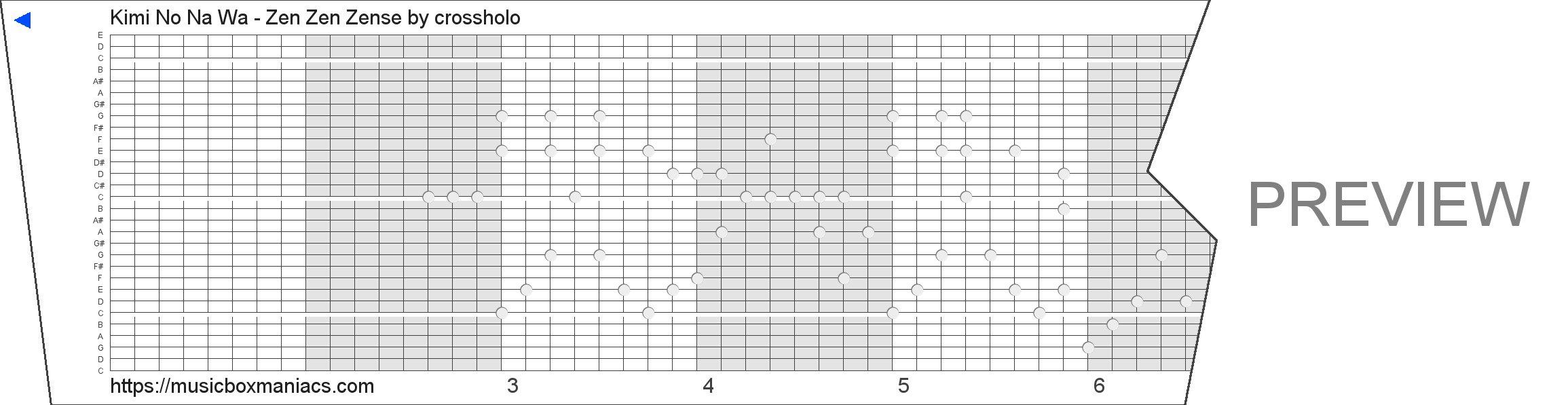 Kimi No Na Wa - Zen Zen Zense 30 note music box paper strip
