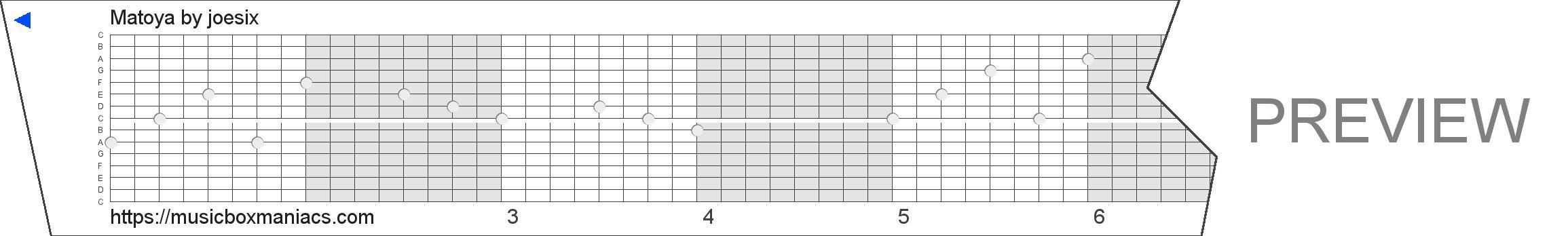 Matoya 15 note music box paper strip