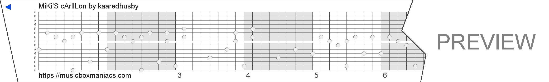 MiKi'S cArIlLon 15 note music box paper strip