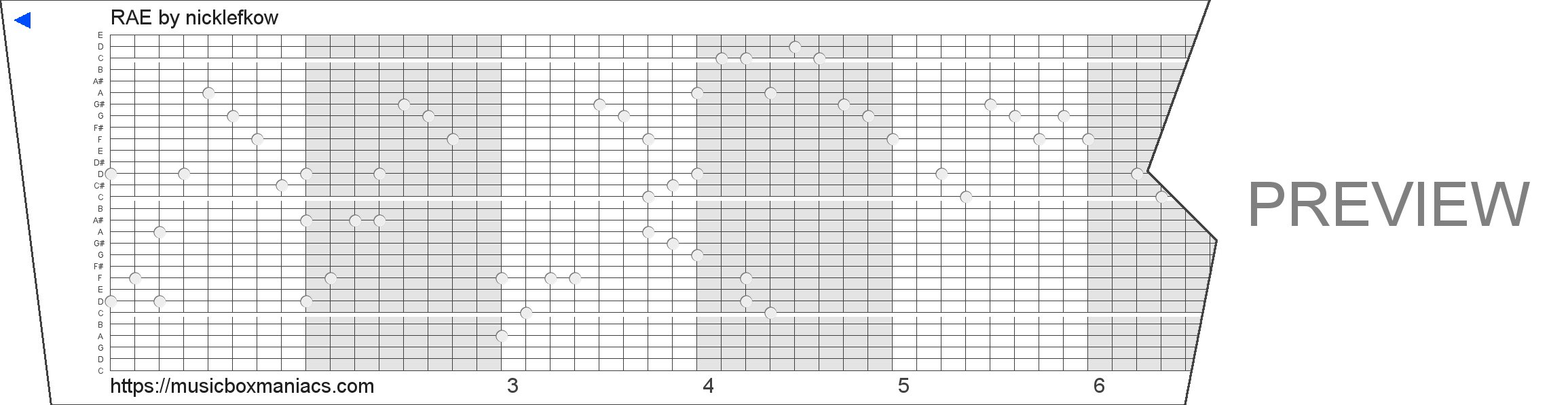 RAE 30 note music box paper strip