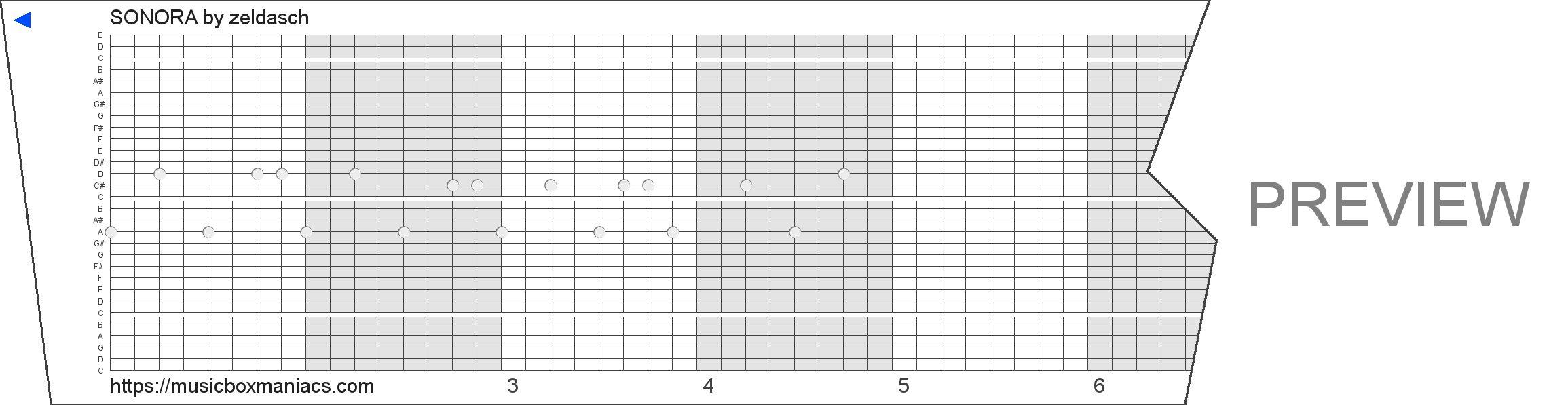 SONORA 30 note music box paper strip