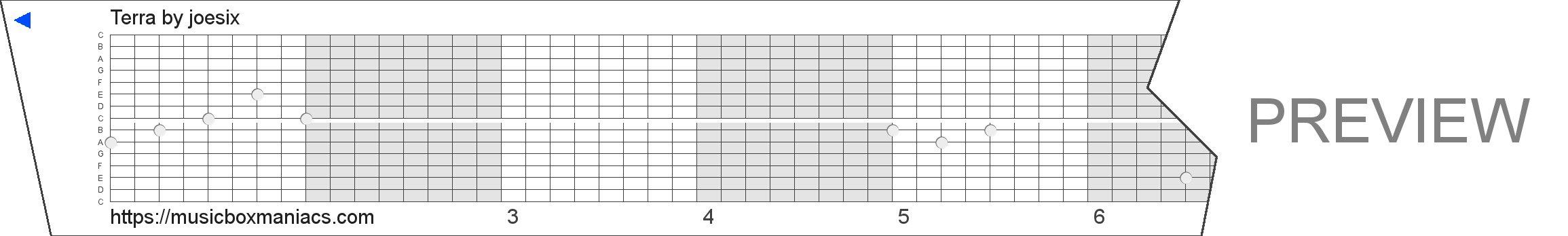 Terra 15 note music box paper strip