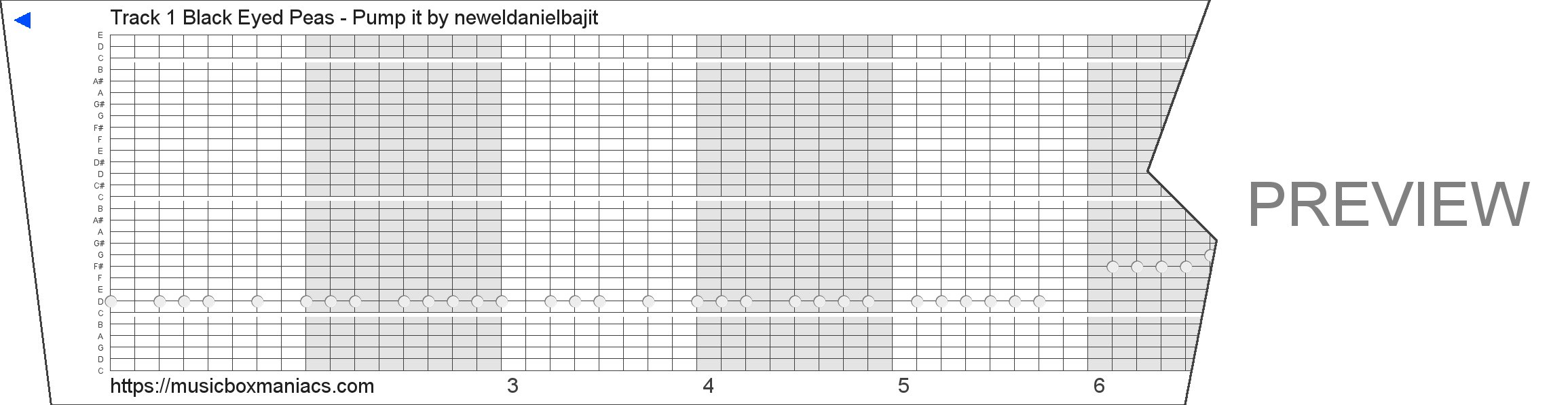 Track 1 Black Eyed Peas - Pump it 30 note music box paper strip