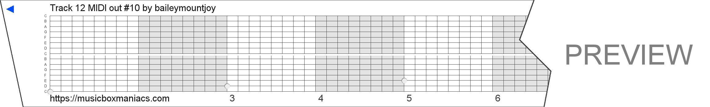 Track 12 MIDI out #10 15 note music box paper strip