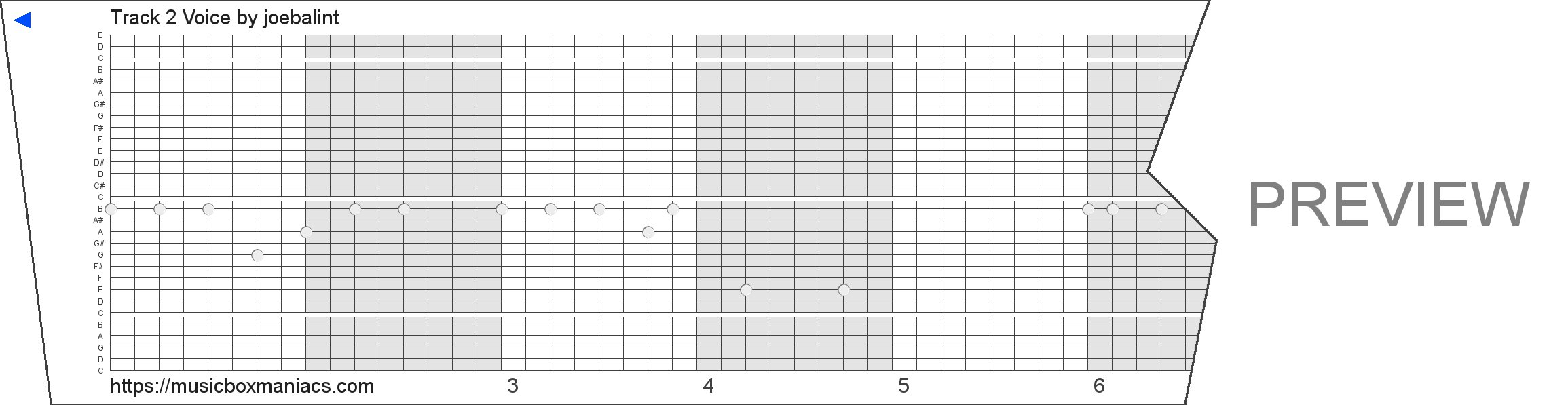 Track 2 Voice 30 note music box paper strip