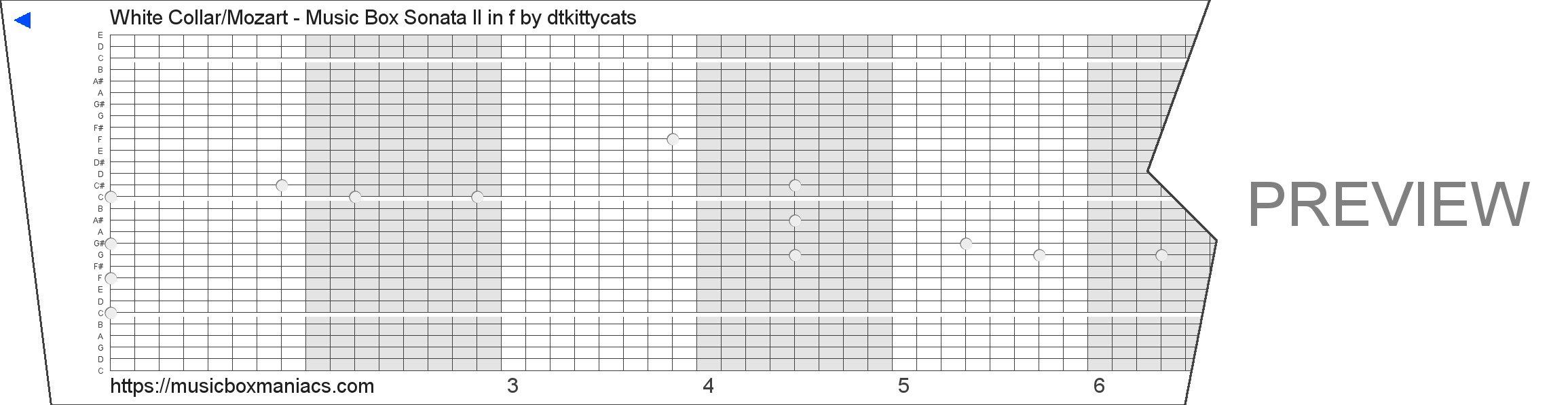White Collar/Mozart - Music Box Sonata II in f 30 note music box paper strip
