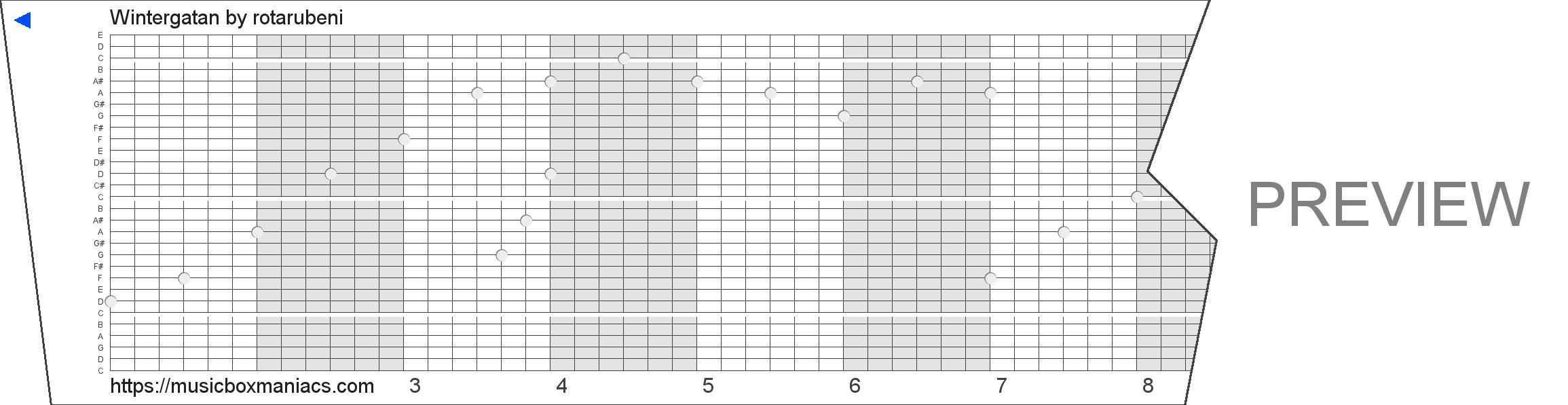Wintergatan 30 note music box paper strip