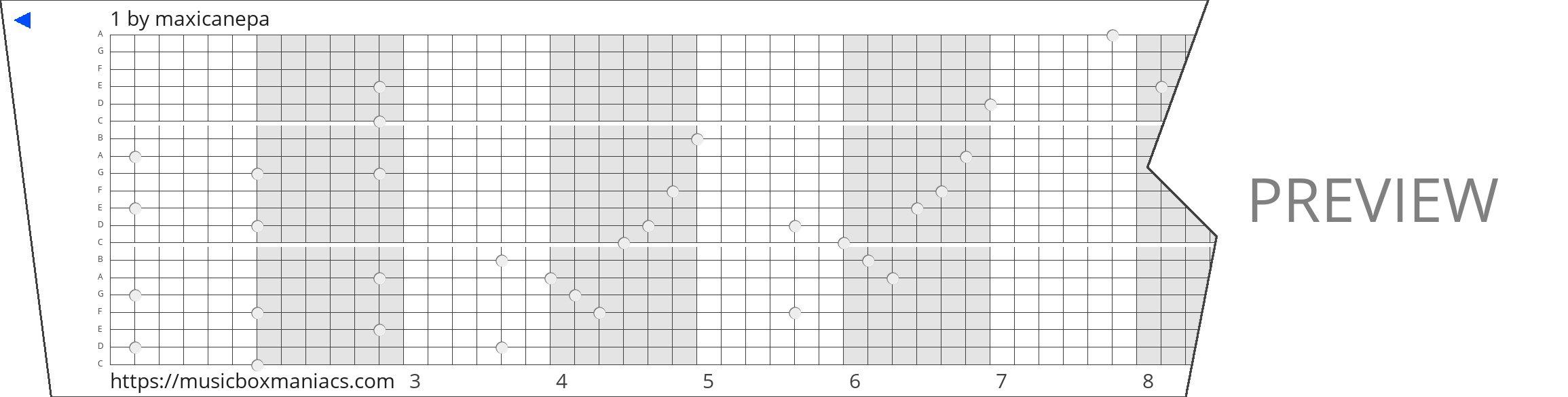 1 20 note music box paper strip