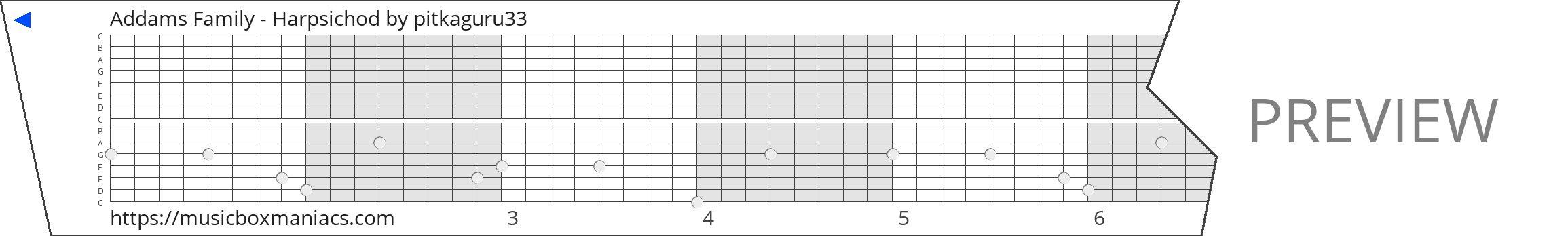 Addams Family - Harpsichod 15 note music box paper strip